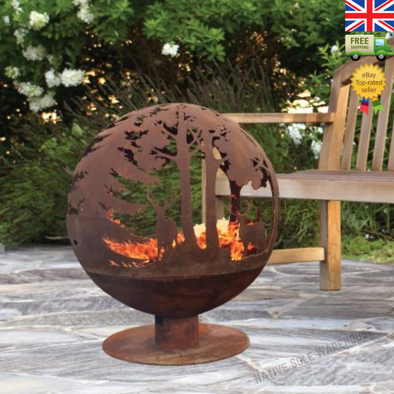 Fire Pit Globe Bowl Nature Forest Pattern Rustic Wood Burner Ball Patio Heater