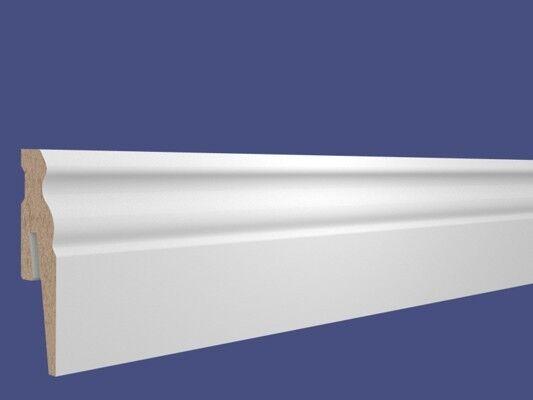 Sockelleiste Hamburger Profil 130 mm clippfähig 2,6 Meter Weiss Berliner Profil