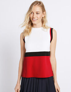 MARKS-amp-SPENCER-RED-WHITE-BLACK-COLOUR-BLOCK-SLEEVELESS-JUMPER-TOP-10-to-22
