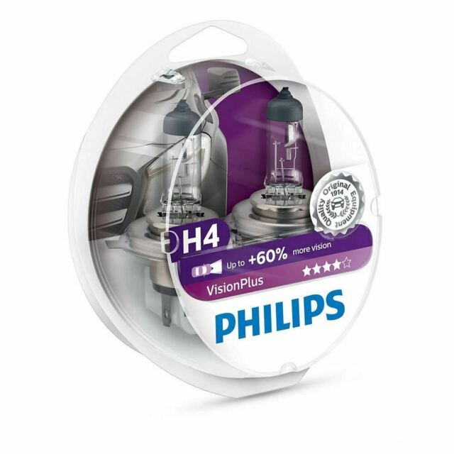 Philips H4 Vision Plus 12v 60% more light Upgrade Car BULB Twin
