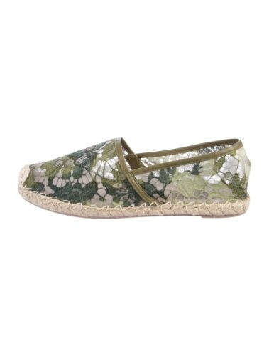 Valentino Lace Espadrilles Green Lace Size 10