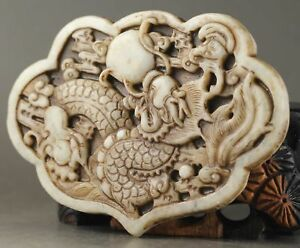100/% Hot Chinese Fine carved natural jade statue pendant necklace Dragon