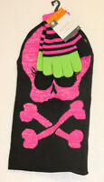 Black Pink Skull Skeleton Stocking Knit Cap Ski Mask W Matching Gloves