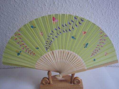 2 x Handfächer Taschenfächer Stofffächer Sommer Fächer mit schönen Motive Neu