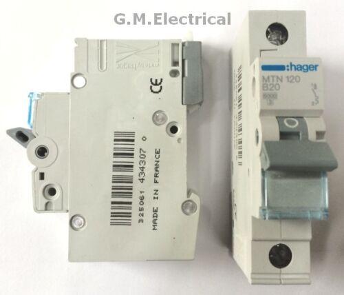 Hager 20 Amp Tipo B Reja de desminado interruptor de un polo de fase 20A//B20 MTN120 6KA NBN120A