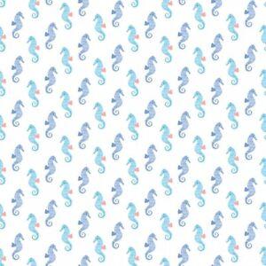 Cotton-Quilt-Fabric-White-Seahorse-Dear-Stella-Pier-Pressure-Fat-Quarter