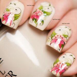 Unas-Wraps-Nail-Art-Unas-calcomanias-transferencias-de-agua-Rosa-Flor-Stargazer-Lily-yd714