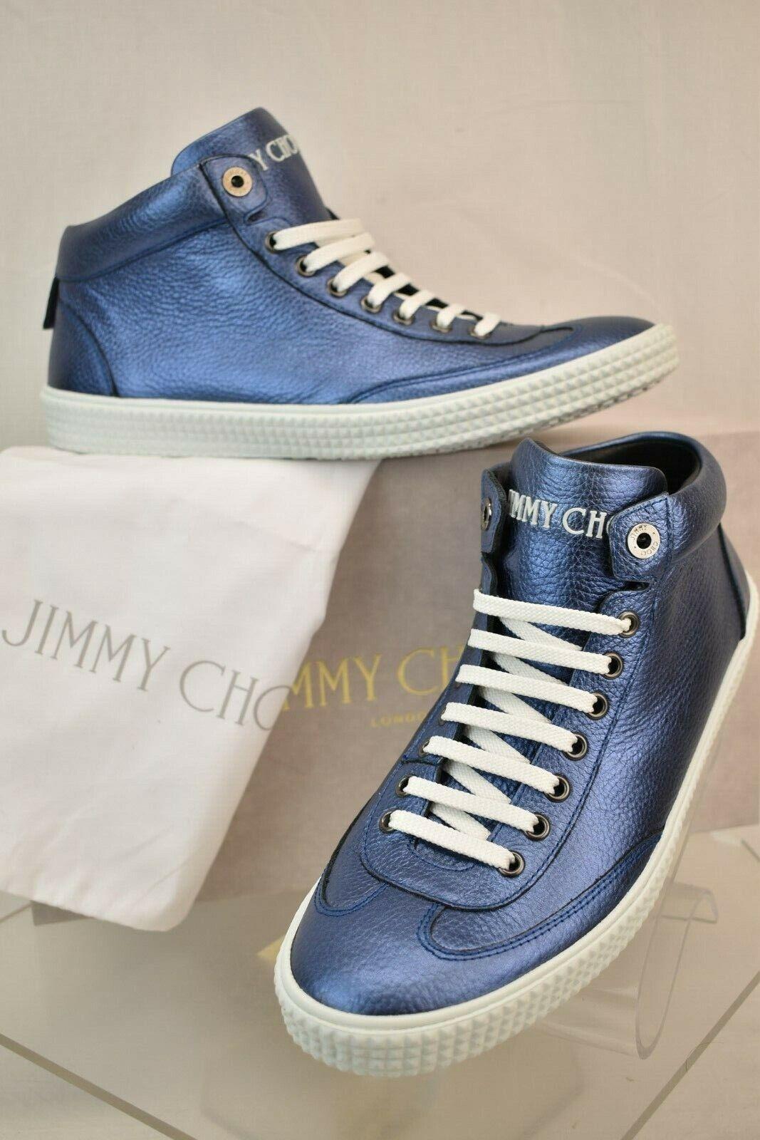 JIMMY CHOO VARLEY Mar Azul Metálico Grano Cuero Con Cordones Zapatillas 46 España
