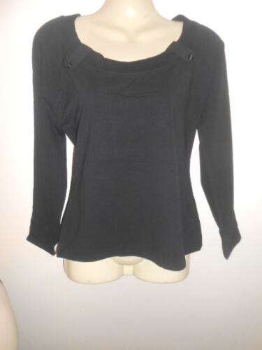 Size 12-14 by Kustom Kit NEW long sleeve Ladies unusual deep neck black top