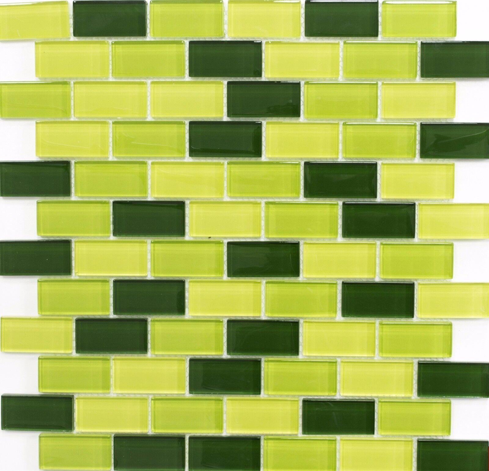 Glasmosaik Verbund mix hellgrün/grün/dunkelgrün Küche Art:76-0506 | 10 Matten