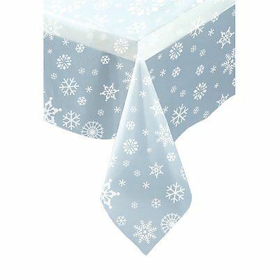 CLEAR SNOWFLAKES Plastic Party Tablecover Tablecloth Christmas Frozen Party