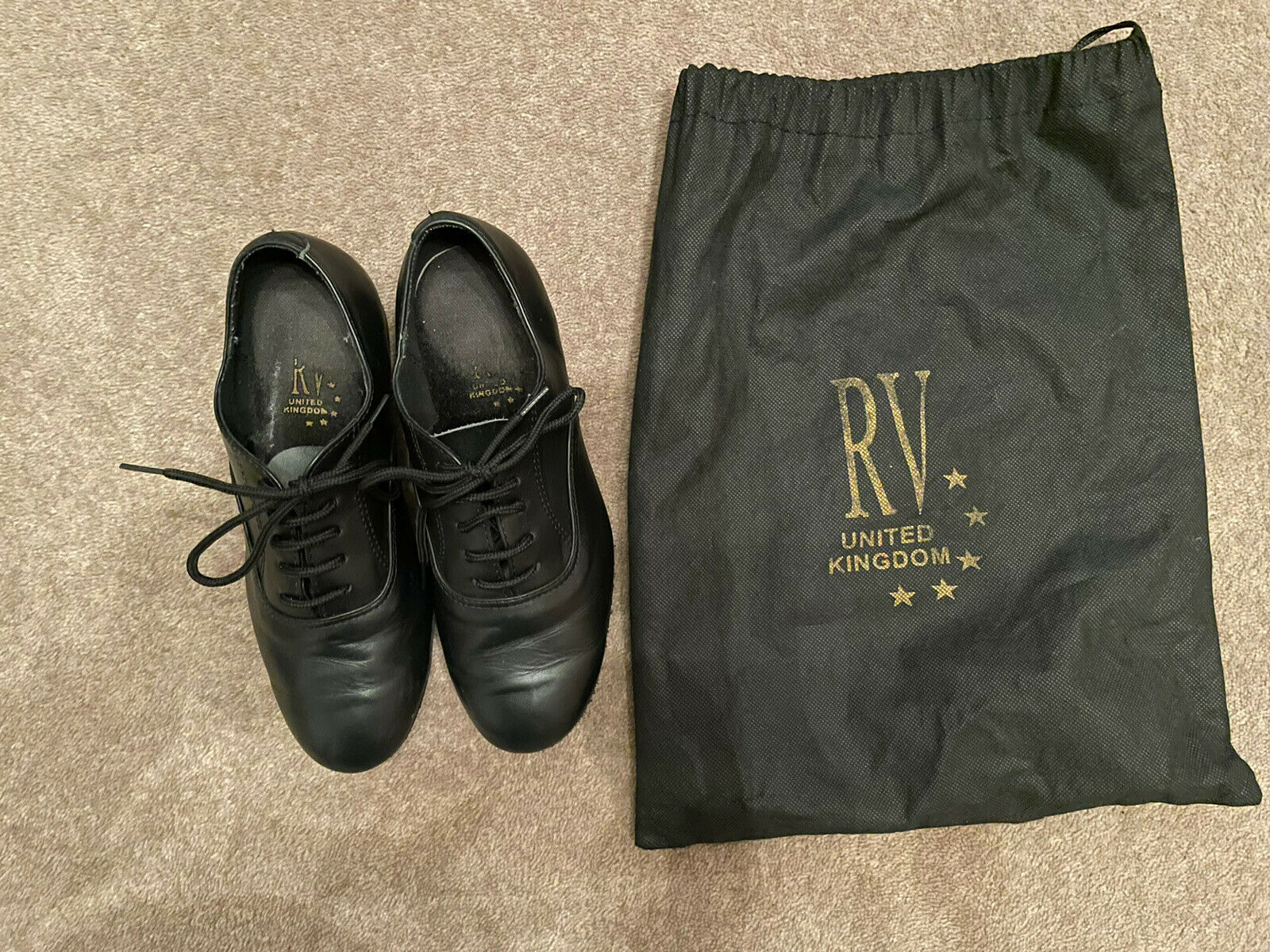 Roche Valley Boys Leather Ballroom Latin Dance Shoes Size 3 - Excellent cond.