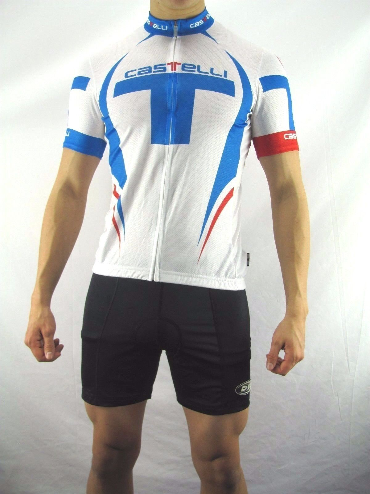 Caselli Red White bluee Cycling Jersey, NEW  Polyester Women's Large   APZ12