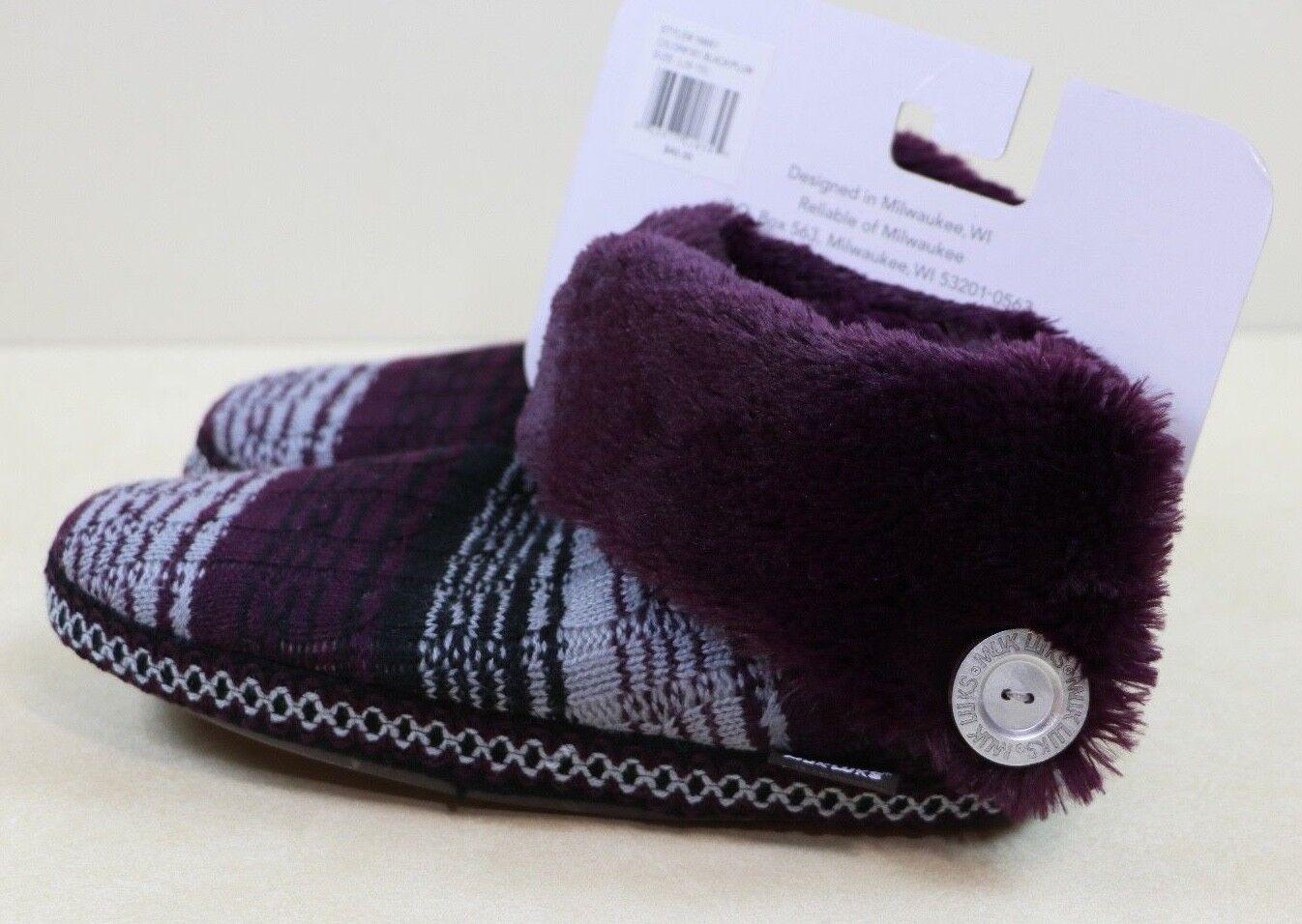 Womans Size L 9-10 MUKLUKS Black Plum Purple Indoor Outdoor Soft Fur Warm