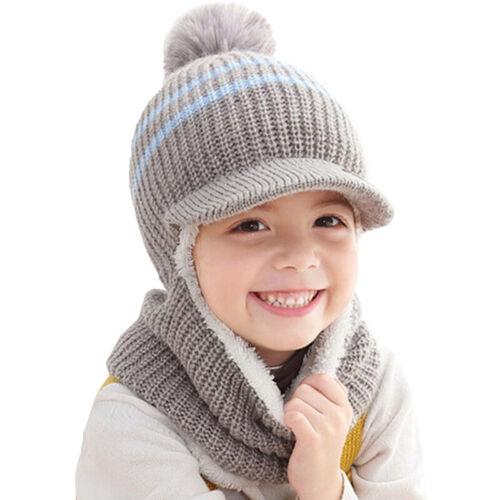 Toddler Kid Boy Girl Winter Warm Knitted Fleece Crochet Beanie Hat Scarf Cap Set
