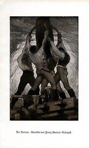 Die Ramme Kunstdruck 1925 von Franz Marton Bauarbeiter Baustelle Arbeiter Männer