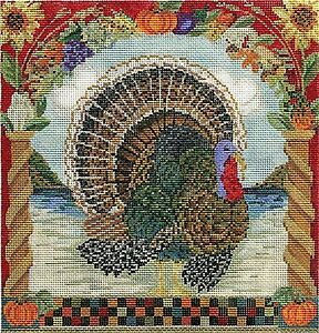 Needlepoint-Handpainted-KELLY-CLARK-Thanksgiving-Tom-TURKEY-w-STITCH-Guide