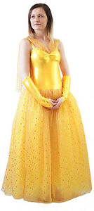 Details zu Panto Fairytale Beauty And The Beast Ladies BALLGOWN BELLE DRESS & GLOVES
