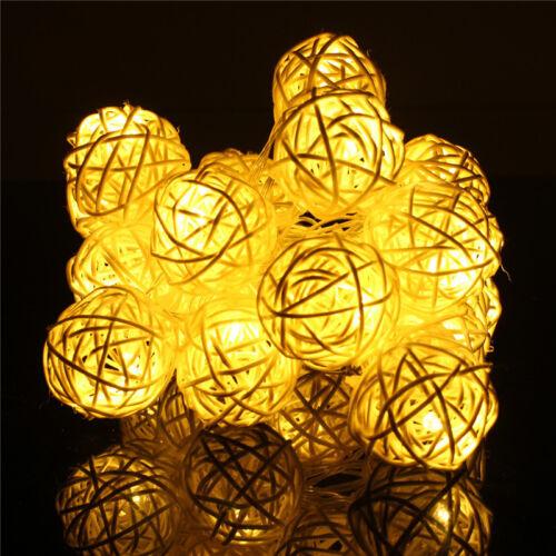 For Wedding Xmas Party Decor Outdoor Fairy String Light Lamp 20 LED Rattan Ball