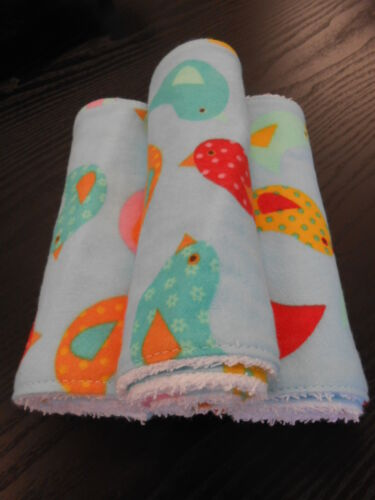 Birds On Blue Burp Cloths Set of 3 Towelling Backed GREAT GIFT IDEA!!