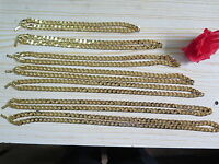 """Lifetime Warranty 20""""-36"""" 10mm 18k Yellow Gold Plated Curb Chain Necklace Gift"""