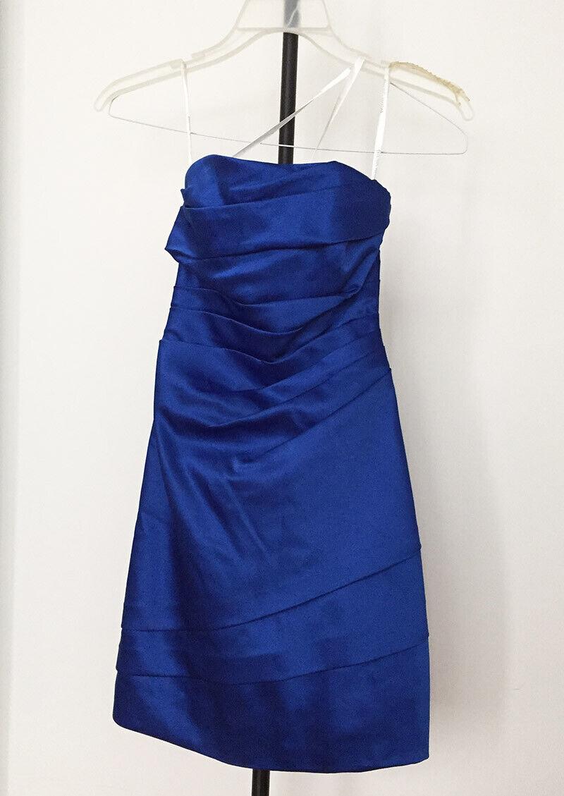 Prom Dress Blue Strapless Short David's Bridal Wedding Formal Size 2