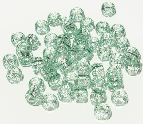 500 Green Glitter Sparkle 9x6mm Pony Beads for crafts hair kandi jewelry