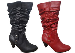 Ladies-Boots-No-Shoes-Fiesty-Black-or-Red-Pull-on-Mid-Calf-Boot-Size-6-11-New