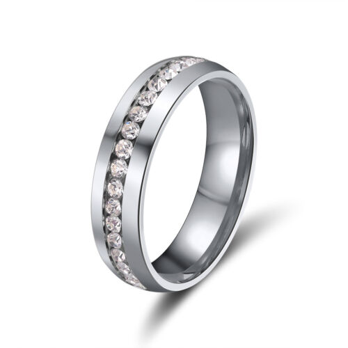 6 mm Stainless Steel Wedding Band Rings for Men Women 3 Colors Plated Size 5-12