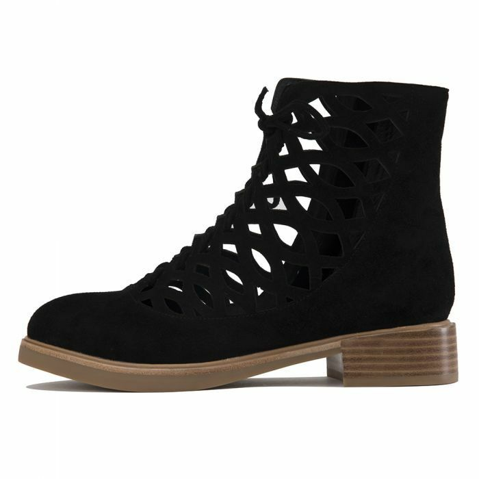 NIB Jeffrey Campbell Adderly Adderly Adderly Black Suede Cut-Out Lace Boots- Size 7.5 -MSRP  220 a6b58d