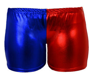WOMENS HARLEY QUINN HOT PANTS RED BLUE WET LOOK  METALLIC COSTUME SUICIDE SQUAD