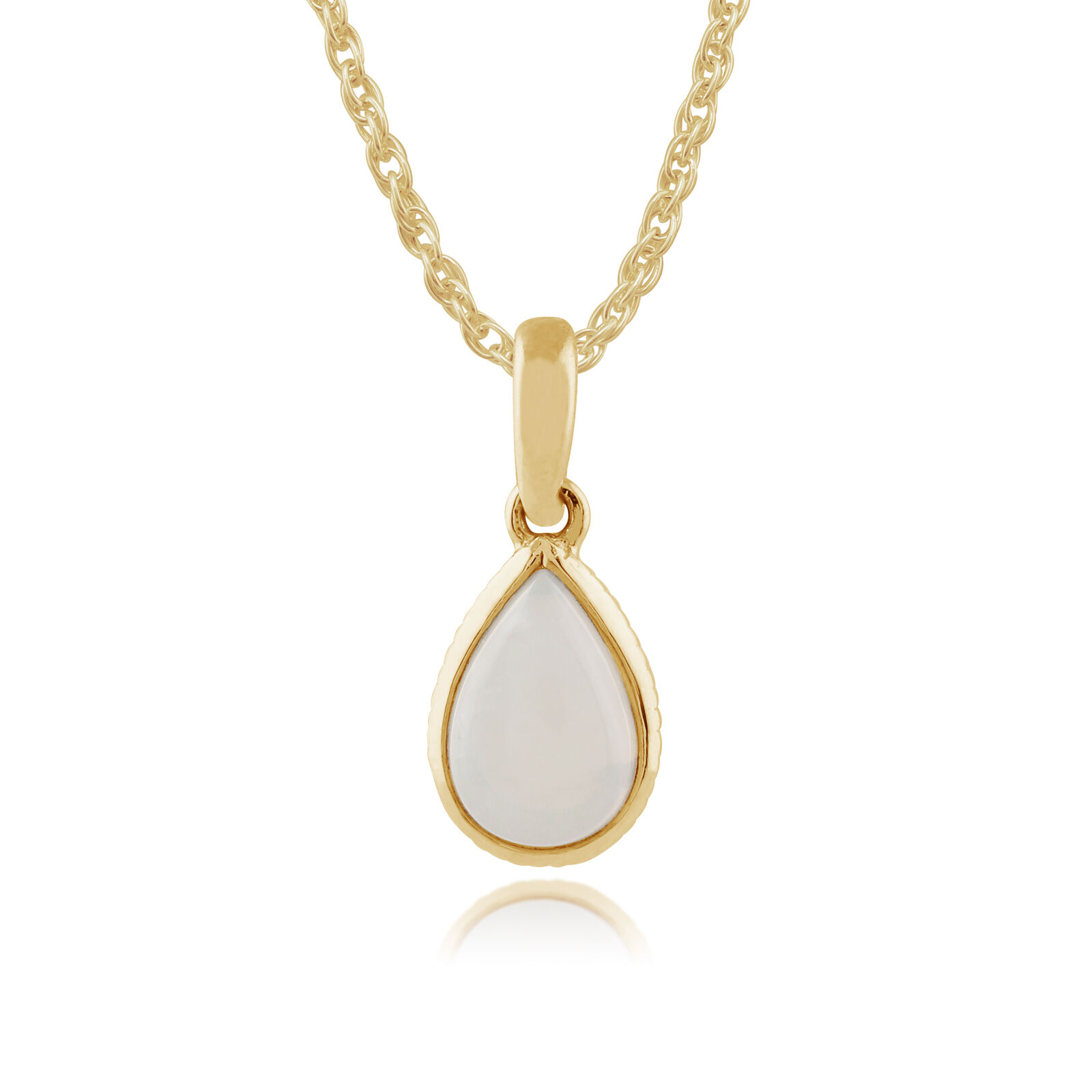 Gemondo 9ct Yellow gold 0.25ct Opal Pear Framed Pendant on Chain
