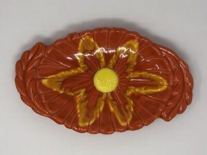 Vintage-Santa-Anita-Ware-Calif-Orange-Flower-Pottery-Oval-Tray-Mid-Century