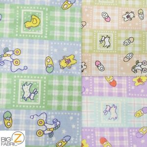 Baby playtime print flannel fabric by the yard poly cotton for Children s clothing fabric by the yard