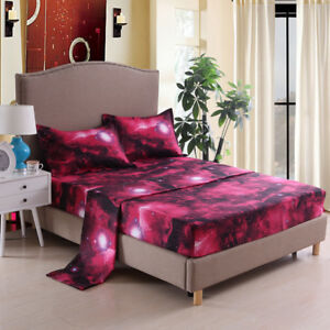 Image Is Loading Galaxy Cosmic Stars Fitted Sheet Set Double Queen