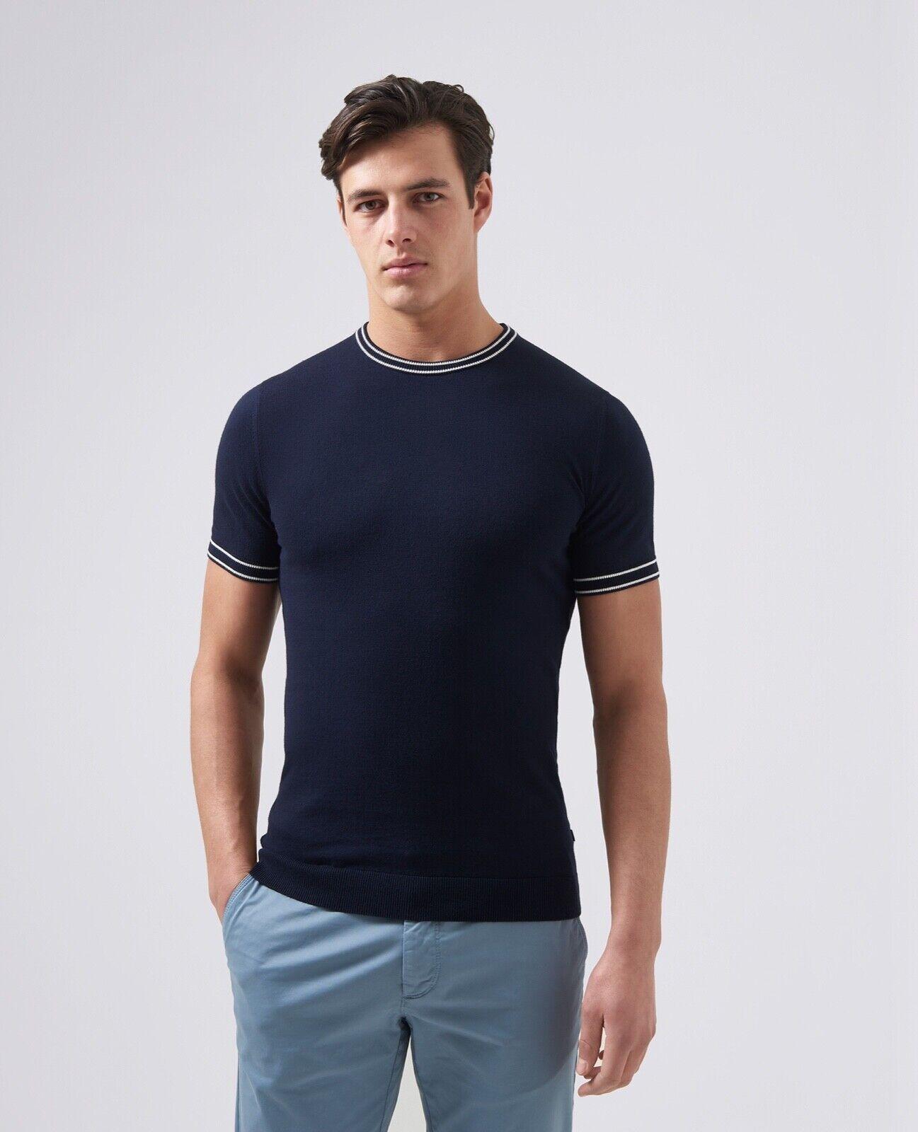 Remus Uomo ® Lavorato a Maglia T-shirt Blu Scuro-XXL Nuovo SS19
