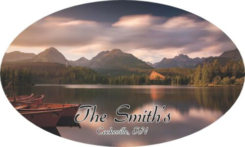 Personalized Mountains Camper RV Vinyl Sticker Full Color Camper Graphics