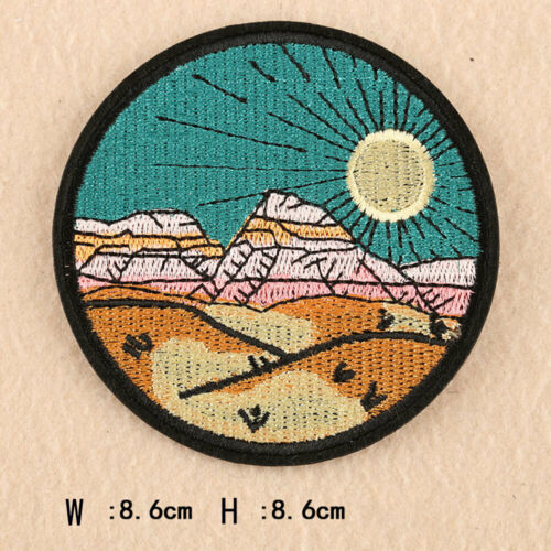 DIY Embroidery Iron on Patches Applique Scenery Mountain Ocean Sun Badge Sticker