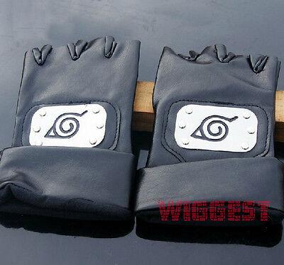 Naruto Kakashi Hatake Konoha Ninja Cosplay Gloves with Leaf Village Symbol