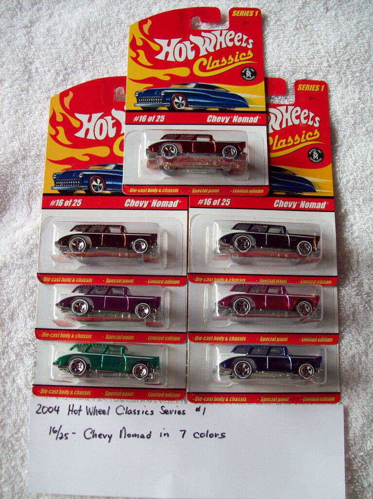 2004 Hot Wheel Classics Series 1 16 25 Chevy Nomad 7 car Set in 7 colors
