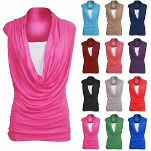c0d6b7af8b193 Womens Ruched 2 In 1 Cowl Neck Ladies Sleeveless Jersey Vest T Shirt ...