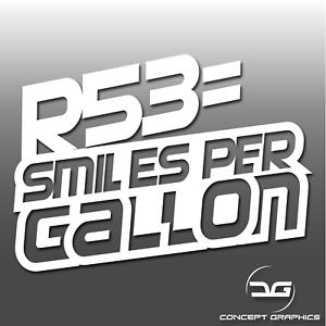 Image Is Loading Funny R53 Smiles Per Gallon Novelty Mini Cooper