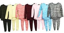 Girls Kids Diamante Bow Back Top & Leggings Set Marl Knit Tracksuit Loungewear