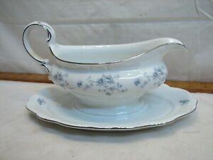 Vintage Johann Haviland Blue Garland Gravy Sauce Boat Serving Dish Bowl