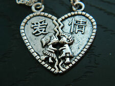 Cute Couple Lover Heart Pendant Charm Necklaces.Kitsch.Valentine.silver
