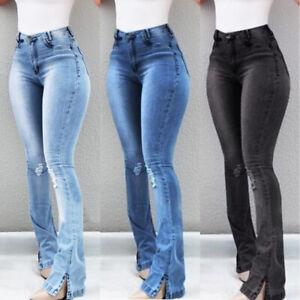 Women-Retro-Denim-Jeans-High-Waist-Bell-Bottom-Flare-Pants-Wide-Leg-Trousers-New