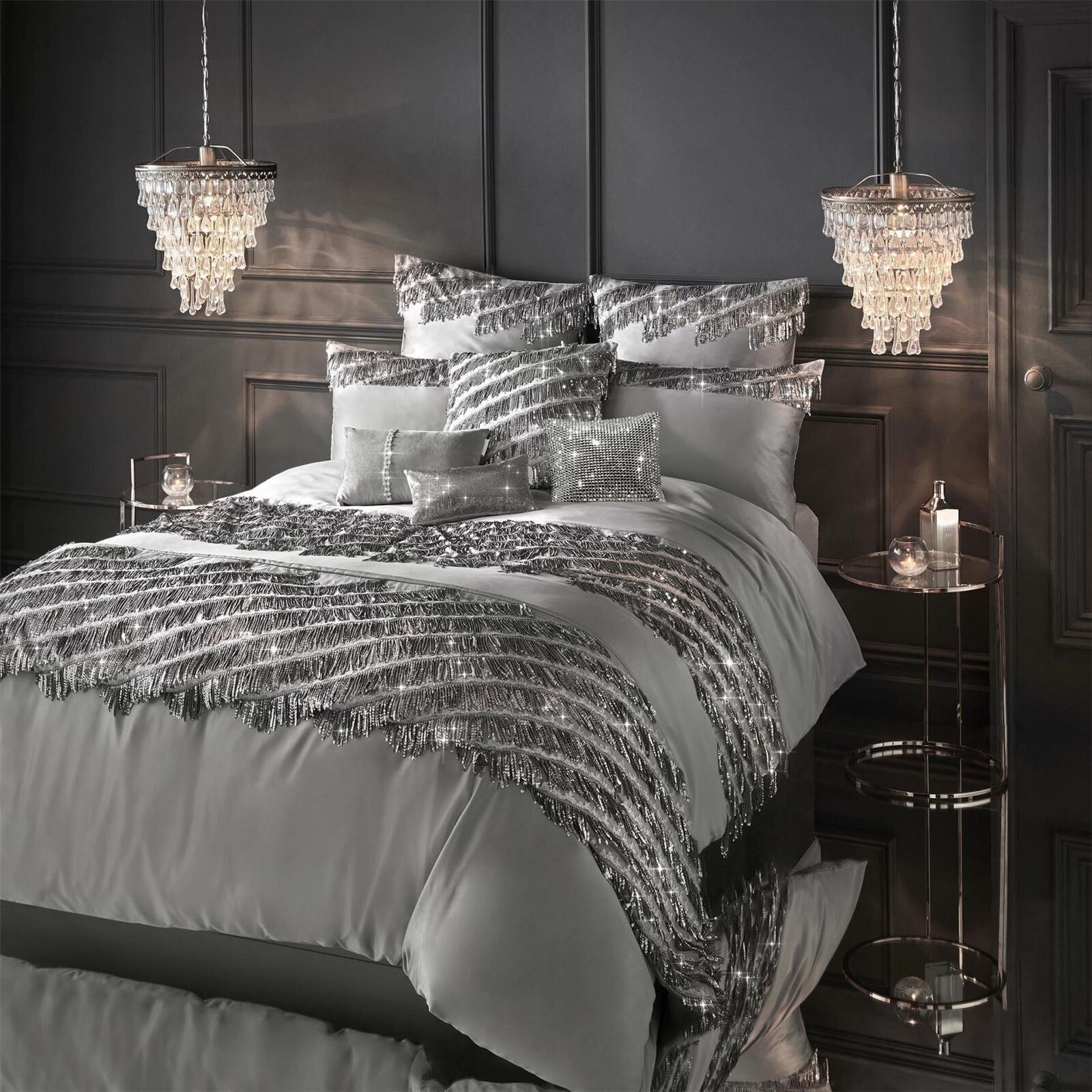 Kylie Minogue Elize Pewter Duvet Cover Bed Set Or Throw Or Cushion Or P case