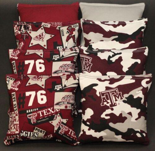 All Weather made w TEXAS A/&M University AGGIES Fabric CORNHOLE BEAN BAGS