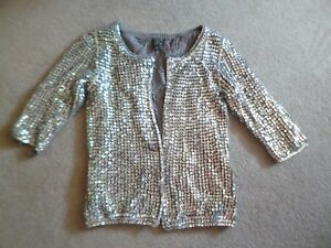 Silver Kate Moss 8 Cardigan jacket 6 Topshop Sequin xxwqpTB8