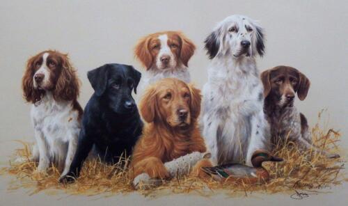James Killen Class Reunion Hunting Dogs Print-Signed  26 x 16
